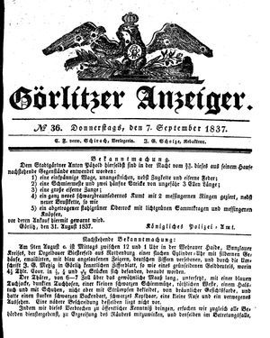 Görlitzer Anzeiger vom 07.09.1837
