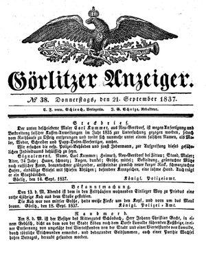 Görlitzer Anzeiger vom 21.09.1837