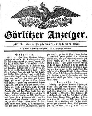 Görlitzer Anzeiger vom 28.09.1837