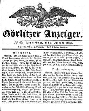 Görlitzer Anzeiger vom 05.10.1837
