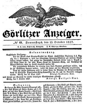 Görlitzer Anzeiger vom 12.10.1837
