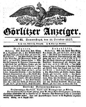 Görlitzer Anzeiger vom 19.10.1837