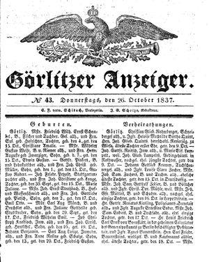 Görlitzer Anzeiger vom 26.10.1837