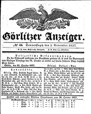 Görlitzer Anzeiger vom 02.11.1837