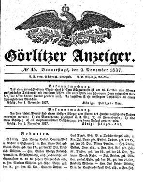 Görlitzer Anzeiger vom 09.11.1837