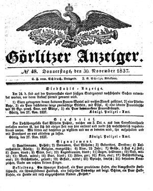 Görlitzer Anzeiger vom 30.11.1837