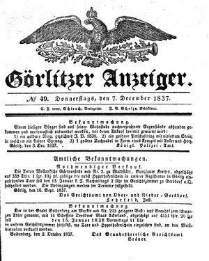 Görlitzer Anzeiger vom 07.12.1837