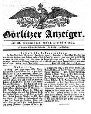 Görlitzer Anzeiger vom 14.12.1837