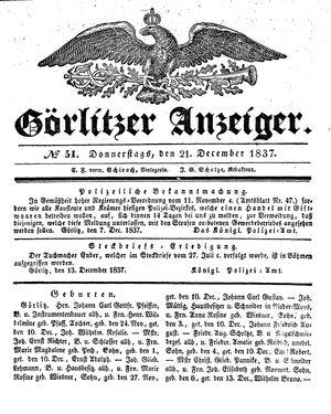 Görlitzer Anzeiger vom 21.12.1837