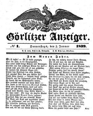 Görlitzer Anzeiger vom 03.01.1839