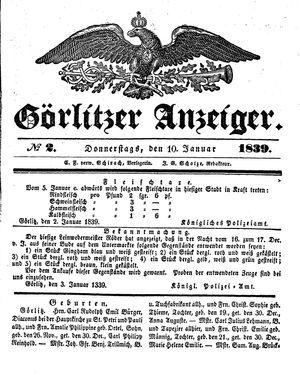 Görlitzer Anzeiger vom 10.01.1839