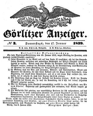 Görlitzer Anzeiger vom 17.01.1839
