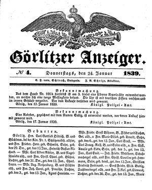 Görlitzer Anzeiger vom 24.01.1839