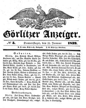 Görlitzer Anzeiger vom 31.01.1839