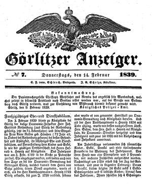 Görlitzer Anzeiger vom 14.02.1839