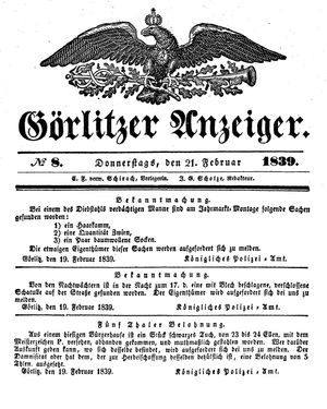 Görlitzer Anzeiger vom 21.02.1839