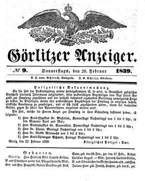 Görlitzer Anzeiger vom 28.02.1839