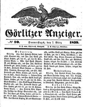 Görlitzer Anzeiger vom 07.03.1839