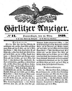 Görlitzer Anzeiger vom 14.03.1839
