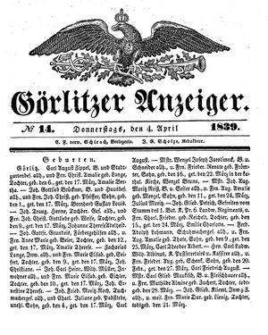 Görlitzer Anzeiger vom 04.04.1839