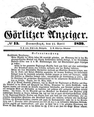 Görlitzer Anzeiger vom 11.04.1839