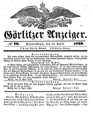 Görlitzer Anzeiger on Apr 18, 1839