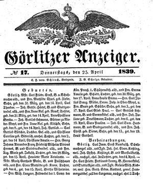 Görlitzer Anzeiger vom 25.04.1839