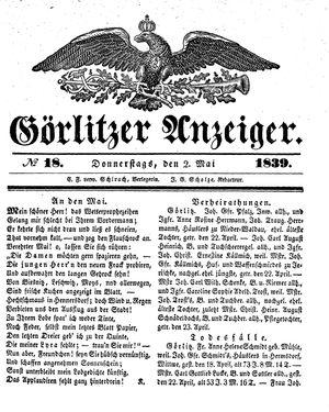 Görlitzer Anzeiger vom 02.05.1839