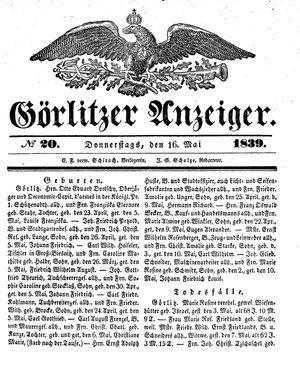 Görlitzer Anzeiger vom 16.05.1839