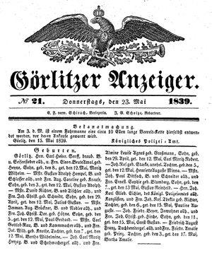 Görlitzer Anzeiger vom 23.05.1839