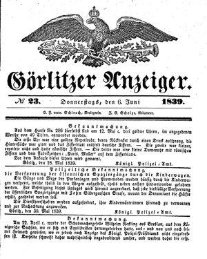 Görlitzer Anzeiger vom 06.06.1839