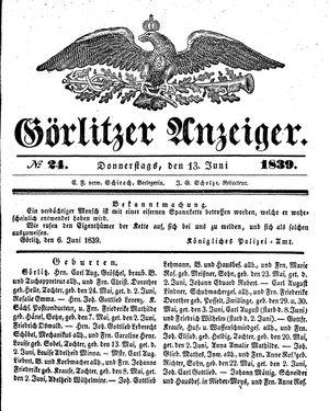 Görlitzer Anzeiger vom 13.06.1839