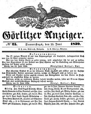 Görlitzer Anzeiger vom 20.06.1839