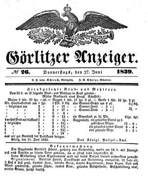 Görlitzer Anzeiger vom 27.06.1839