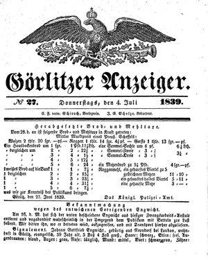 Görlitzer Anzeiger vom 04.07.1839