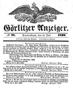 Görlitzer Anzeiger vom 11.07.1839