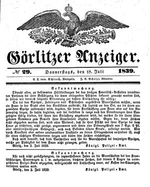 Görlitzer Anzeiger vom 18.07.1839