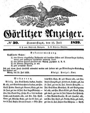 Görlitzer Anzeiger vom 25.07.1839