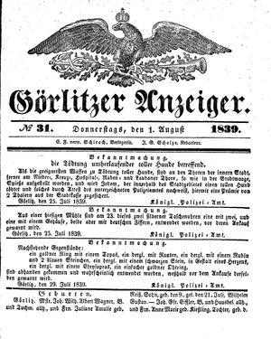 Görlitzer Anzeiger vom 01.08.1839