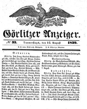 Görlitzer Anzeiger vom 15.08.1839