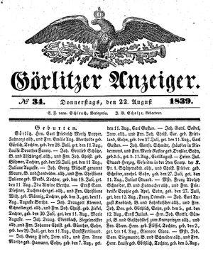 Görlitzer Anzeiger vom 22.08.1839