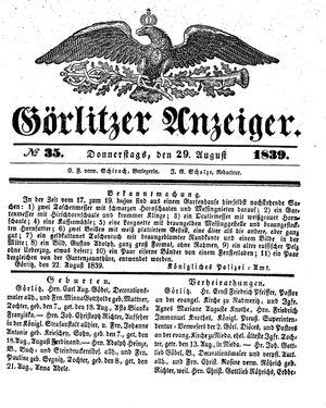 Görlitzer Anzeiger vom 29.08.1839
