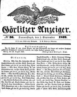 Görlitzer Anzeiger vom 05.09.1839