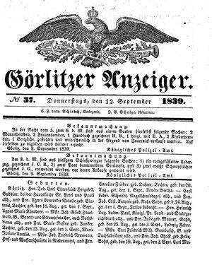 Görlitzer Anzeiger on Sep 12, 1839