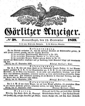 Görlitzer Anzeiger vom 19.09.1839