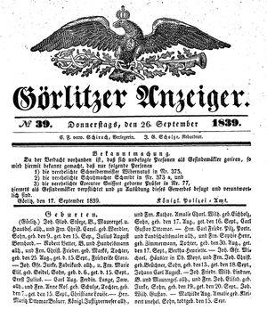 Görlitzer Anzeiger vom 26.09.1839