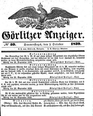 Görlitzer Anzeiger vom 03.10.1839