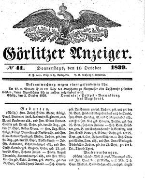 Görlitzer Anzeiger vom 10.10.1839