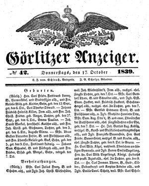 Görlitzer Anzeiger on Oct 17, 1839