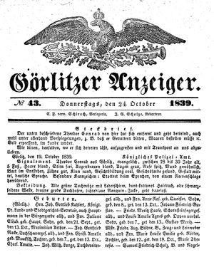 Görlitzer Anzeiger vom 24.10.1839